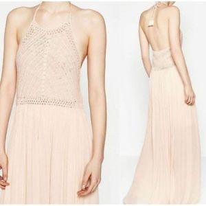 Crochet Halter Maxi Dress